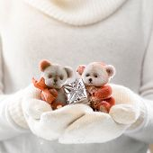 Female hands holding a cute teddy bears with gift. Woman hands in white mittens showing a teddy bear gift. Cute Christmas present. Winter holidays concept.