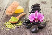 Fuchsia Moth Orchid, Bath Salt And Black Stones