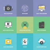 Network Data Services Flat Icons Set