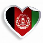 Heart Sticker With Flag Of Afghanistan Isolated On White