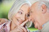 Loving senior woman touching man's nose at nursing home