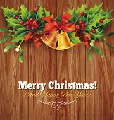 Christmas holly garland on wooden background. Vector eps 10.