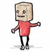 cartoon ugly man with bag on head