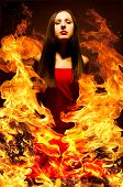 picture of dread head  - Portrait of a beautiful young woman on fire - JPG