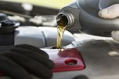 stock photo of lubricant  - Fresh oil being poured during a car service - JPG