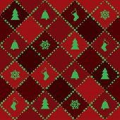 Abstract Red Christmas Background with Green tree, bell, sock and snowflake