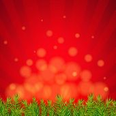 Happy Xmas Border With Red Sunburst With Gradient Mesh, Vector Illustration