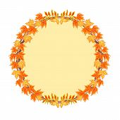Frame Round With Autumn Leaves Vector