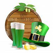 Wooden Barrel, Hops, Green Hat, Green Beer And Golden Coins