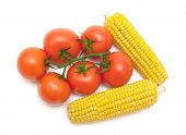 Tomatoes And Corn Isolated On White Background
