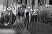 stock photo of ladle  - Ladles collection in a professional restaurant kitchen - JPG