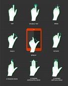 picture of sensory perception  - Gesture icons for touch devices - JPG