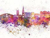 Blackburn Skyline In Watercolor Background
