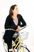 beautiful girl in a vintage bike