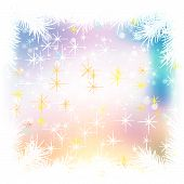 Abstract Celebration Background With Pine Branch And Snowflakes
