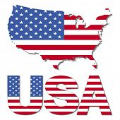 USA map flag and text illustration