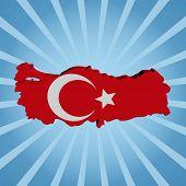 Turkey map flag on blue sunburst illustration