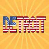 Detroit flag text with sunburst illustration