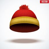 Knitted woolen cap. Winter seasonal colorful hat. vector illustration