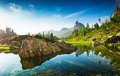 The beautiful Lago Di Federa See early in the morning