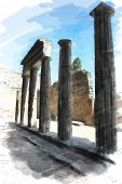 art watercolor background isolated on white basis with european antique town, Pompeii. Ruins of columns