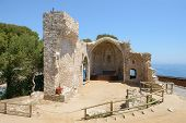 Ancient Ruined Church In Tossa De Mar, Costa Brava, Spain.