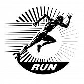 Start running. Vector illustration in the engraving style