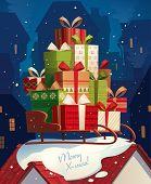 Santa's sleigh. Christmas card \ poster \ banner. Vector illustration.