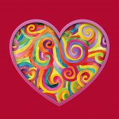 Valentine greeting card with colorful hearts against a red background