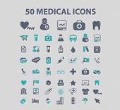50 medical, medicine, health, doctor, hospital icons, signs, illustrations set, vector