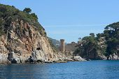 View Of Tossa Fortress With Es Codolar Tower, Catalonia, Spain.