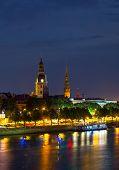 Old center of Riga, Latvia at night