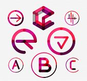 Logo set thin line clean style - business icons, branding emblems