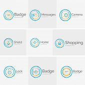 Thin line neat design logo collection - 9 clean modern icons and stamps