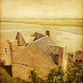 View from Mont Saint-Michel.Normandy.France.Grunge and retro style.