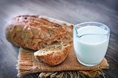 image of hammer sickle  - bread and fresh milk in the jug