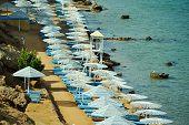 Top Veiw Of Umbrella On Beach