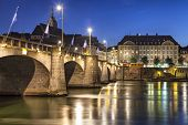 Mittlere Bridge Over Rhine River At Sunset, Basel