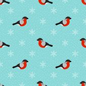 Winter Seamless Background With Bullfinch And Snowflakes