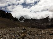 Deserted Landscape Near A Himalayan Pass Featuring Glaciers
