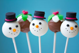 stock photo of cake pop  - Snowman and Christmas pudding cake pops - JPG
