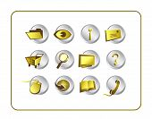 Icon Set Golden with clipping paths