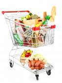 picture of grocery cart  - Shopping cart full with various groceries isolated on white  - JPG