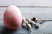 picture of pussy-willows  - Bird colorful egg in nest and pussy willow branches on wooden background - JPG