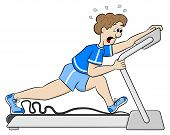 stock photo of treadmill  - vector illustration of an exhaustive treadmill workout - JPG