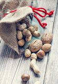 pic of ground nut  - bag full of nuts and almonds isolated - JPG