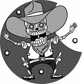 foto of gunfighter  - Wild West a skeleton dressed as a cowboy pistol shooting traces of bullets - JPG