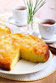 foto of upside  - Apple upside down sponge cake selective focus - JPG