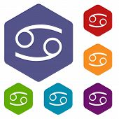 picture of cancer horoscope icon  - Cancer rhombus icons set in different colors - JPG