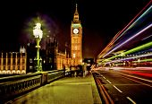 stock photo of westminster bridge  - Westminster Bridge in London at night with Big Ben and bus  - JPG
